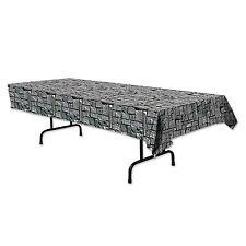Stone Wall Print Plastic Table Cover - Halloween Medieval Party Tableware