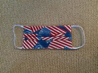 American Flag Patriotic Handmade 100% Cotton Face Mask, Reusable and Washable