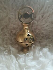 Brass incense burner; censer; triple moon; herbs;