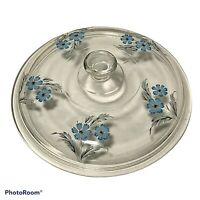 Vintage Pyrex Replacement Lid 470 Blue Flower Design on Clear Glass