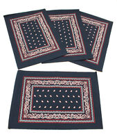 Navy Blue Western Bandana Style Place Mats 13.5x19.5 inches Set of 4