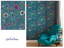 Arthouse Botanical Songbird Teal Floral Grey Wallpaper, 676001 SAMPLE ONLY