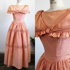 Vintage 1940s Coral Taffeta Party Dress, Full Length