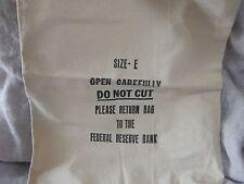 "Vintage Canvas Bank Bag Federal Reserve Bank Size E 19"""
