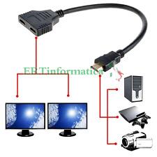 HDMI SPLITTER SDOPPIATORE HDMI PER COLLEGARE 2 DUE MONITOR 1 MASCHIO 2 FEMMINE