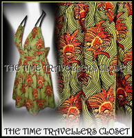 Kate Moss Topshop Vintage 50s Liberty Rope Halterneck Dress Orange Green UK 6 8