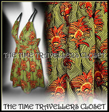 Kate Moss Topshop Vintage 50s Liberty Rope Halterneck Dress Orange Green UK 6 8
