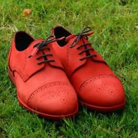 Dull Red Derby Lace Up Calf Suede Leather Boots Mens Handmade Casual Dress Shoes