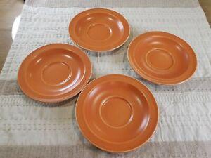 Vintage | 4 X Orange Alfred Meakin England Saucers | Glo White Ironstone 14.5cm