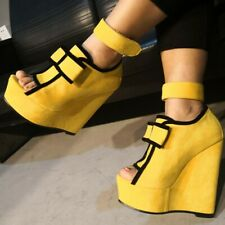 Women Wedge High Heel Peep Toe Bow Platform Sandals Ankle Strap Yellow Shoes
