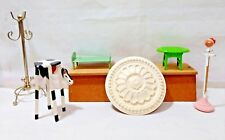 Miniature Furniture & Accessories Lot (6) Pieces Vintage: Cow Stool, Coat Racks