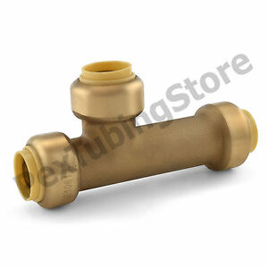 """1/2"""" Sharkbite Style (Push-Fit) Push to Connect Lead-Free Brass Slip Tee"""