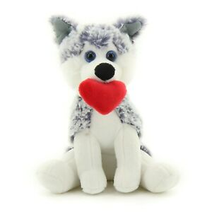 Plushland Cute Puppy Dog with Red Heart for Valentine's Day 10 inches Husky