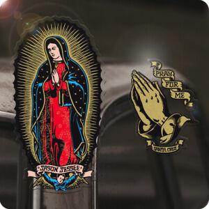 2x Stück Santa Cruz Pray for me + Virgin de Guadeloupe Sticker Aufkleber Set