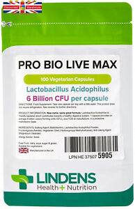 Lindens Pro Bio Live Max 6 Billion Cfu High Strength (+ Prebiotic) Capsules...