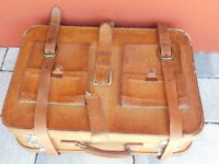 vintage VALISE ancien MALLETTE MALLE en CUIR LEATHER old suitcase koffer leder