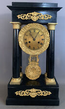 19thC Antique VICTORIAN Era PORTICO Style EBONIZED Floral ORMOLU MANTEL CLOCK