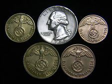 Nazi 1, 2, 5,10 Reichspfennig Coins 1944 Washington Silver Quarter US German Lot
