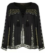 Kate Moss Topshop Womens RARE Black Sequin Boho Loose Fit Blouse Top Size 6 8