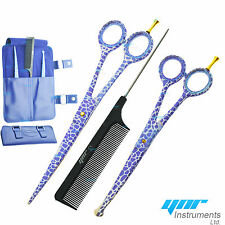 """YNR 8"""" & 6.5 Inch Cutting Pet Dog  Grooming Curved Safety Blunt Scissors Kit set"""