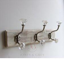 PORTA in legno Bianco Muro Cappotto di archiviazione per appendere in vetro Ghisa Ganci Argento