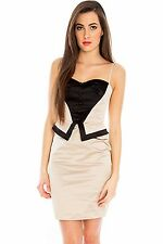 New-Oyster & Black Satin Party Dress-Cutout Strappy Back-Cocktails/Club10