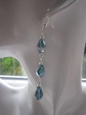 Lungo Goccia/Dangle Earrings-Aqua Blue Crystal PUPE, placcato in argento
