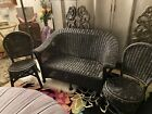Childs Antique Wicker Loveseat With 2 Chairs