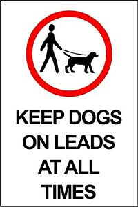 Keep Dogs on Leads at all Times Metal Warning Sign Plaque, Park Gate Farm Path