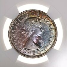 1954 Australia Florin NGC Certified AU58 Attractive Colorfully Toned Surfaces