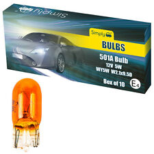 10 X 501 AMBER ORANGE 12V 5W CAPLESS SIDE INDICATOR REPEATER CAR LIGHT BULBS