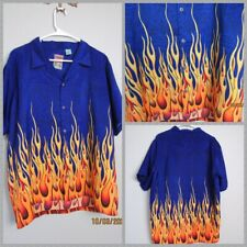 Pineapple Connection Mens Short Sleeve Shirt Blue & Flames Size M