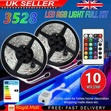 10M RGB 3528 LED Strip Lights With IR Remote Back Light 12V Colour Changing UK