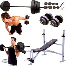 Weight Bench Set Press With Weights And Bar Dumbells Adjustable 140 Lb Home Gym