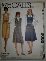 Jumper Dress Sewing Pattern 8082 Size 8 10 12 Denim Wool Corduroy UC FF Vtg 80's