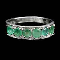 Unheated Round Green Emerald 4mm 14K White Gold Plate 925 Sterling Silver Ring