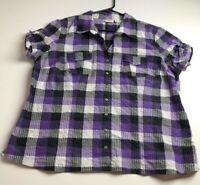 Cato Women's Short Sleeve Button Up Shirt Top XL Purple Beige Plaid Metallic