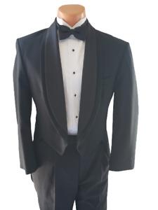 Black Tailcoat Tails Oscar De La Renta Wool Tuxedo Tie Full Dress Wedding
