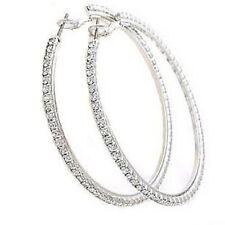 Vintage Style 18K White Gold Plated 6cm Hoop Earrings With Rhinestones
