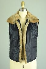 CABI 100% Rabbit Fur Trim Open Front Sleeveless Vest Size Small