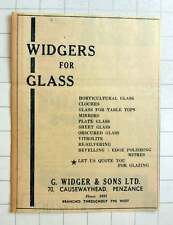 1957 G Widger And Sons Causewayhead Penzance, For Glass