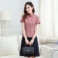 Chinese Traditional Tops Women Cotton Shirt Summer Blouse  Size M-XL