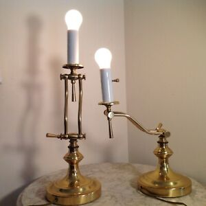 Brass Swing Arm Candle Stick Table/Desk Lamps