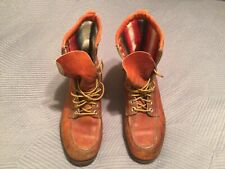 Vtg. 50s Penneys Foremost Mens Brown Leather Moc Toe Sport/Work Boots Sz 10