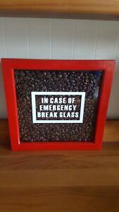 Handmade Box Frame 'In Case Of Emergency Break Glass' Coffee Beans RED