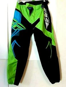 Fly Racing F-16 Pants Size 30 (30×28) Biker Green Black Polyester