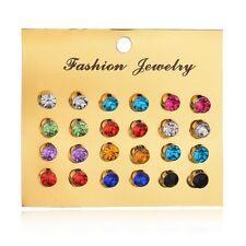 12 Pair Fashion Crystal Rhinestone Stud Earrings Elegant Women Ear Jewelry Set