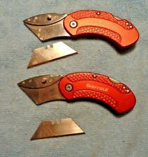 2 SHEFFIELD FOLDING UTILITY KNIFE KNIVES METAL OVAL ERGO HANDLES QUICK CHANGE