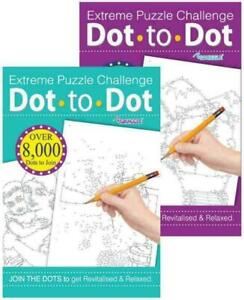 2 x Dot To Dot Extreme Puzzle Drawing Book Challenge Fun Brain Activity
