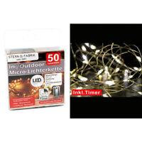 Led Draht Lichterkette warmweiß 50 Leds Timer + Fernbedienung innen außen Dimmer